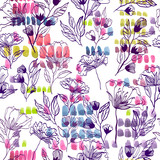watercolor vector pattern with flowers and strokes. summer print for textile design - 151980702