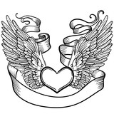 Line art illustration of angel wings, heart, tape. Vintage print for St. Valentine s Day. Sketch for tattoo, hipster t-shirt design, vintage style posters. - 151980993