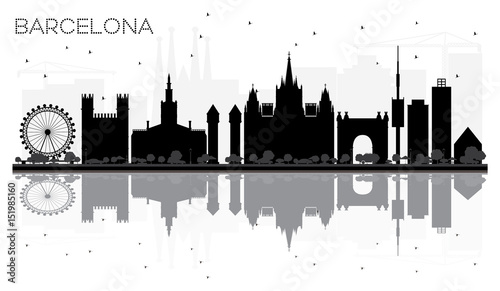 Barcelona City skyline black and white silhouette with reflections.