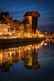 The Crane in Old Town of Gdansk by Night in Poland