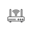 Wifi internet router line icon, outline vector sign, linear style pictogram isolated on white. Symbol, logo illustration. Editable stroke. Pixel perfect