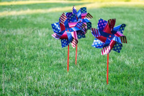 Colorful stars and stripes yard and garden spinner Poster