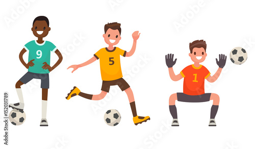 Set of characters of soccer player. Vector illustration in a flat style