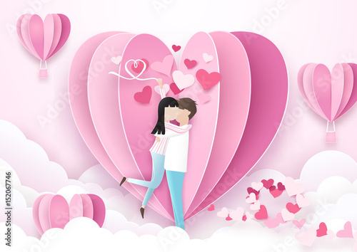 Valentines day background. Couple standing kiss and heart shape balloons. Paper art and origami style