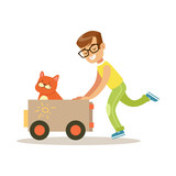Happy boy playing toy car with his red cat inside. Colorful cartoon character vector Illustration