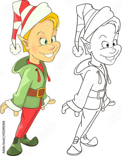 Deurstickers Babykamer Illustration of Cute Elf. Cartoon Character Coloring Book