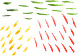Watercolor background of multi-colored short strips