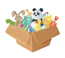 Children Toys In Cardboard Box Funny  Illustration Isolate   Sticker