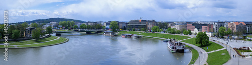 Fototapeta Panorama of Cracow in Poland, with Vistula river, Podwawelski bridge in May 2017