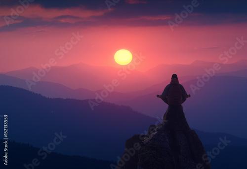 Foto op Canvas Zen Meditation on a cliff