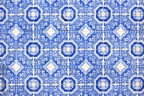 Typical blue portuguese decorations called azulejos Poster