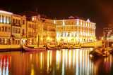 Vouga river with traditional boats, Aveiro at night