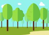 Green landscape with forest flat design vector illustration