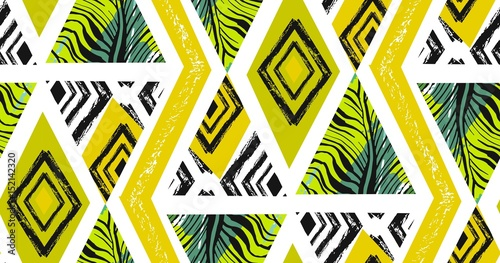 Cotton fabric Hand drawn vector abstract freehand textured seamless tropical pattern collage with zebra motif,organic textures,triangles isolated on white background.Wedding,save the date,birthday,fashion decor