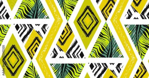 Materiał do szycia Ręcznie rysowane wektor Abstrakcja freehand teksturowanej tropikalny wzór kolaż z motywem zebry, organiczne tekstury, Trójkąty na białym tle. Ślub, zapisać datę, urodziny, wystrój moda