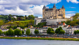 Great medieval castles of Loire valley - beautiful Saumur. France - 152152748