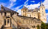 Beautiful castles of Loire valley - impressive medieval Saumur. France - 152152760