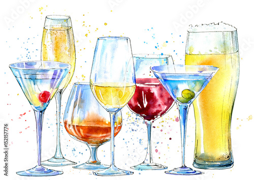 Glass of a champagne,martini, wine, beer, cognac. Picture of a alcoholic drink.Beverage border.Watercolor hand drawn illustration. - 152157776