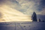 Winter sunrise, Poland landscape, Pieniny mountains