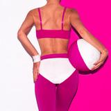 Fitness vibration. Beach volleyball. Pop art style. Fashion girl