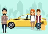 Young man and woman standing near a taxi with travel bag in hand, on the background of the city. The driver invites passengers in the car. In a flat style, cartoon.