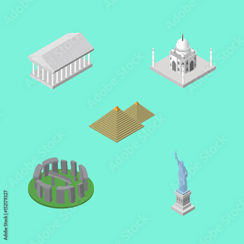 Plexiglas Groene koraal Isometric Travel Set Of Egypt , England, India Mosque Vector Objects. Also Includes Attraction, Taj, Egypt Elements.