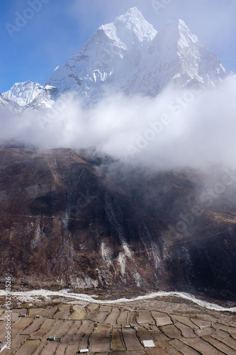 Landscape of Ama Dablam with Dingboche, highest year-round inhabited village in Poster