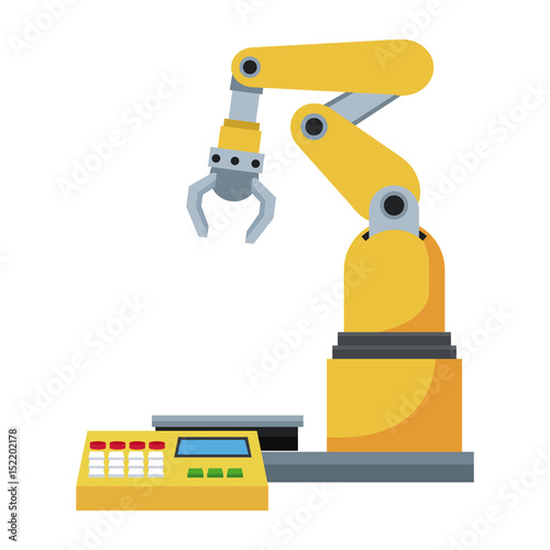 computer controlled automated manufacturing process, industrial robot in packaging line