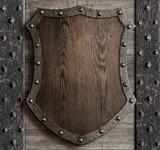 medieval wooden shield on castle gate 3d illustration