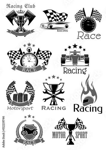 Foto op Plexiglas F1 Car races or sport motor racing club vector icons