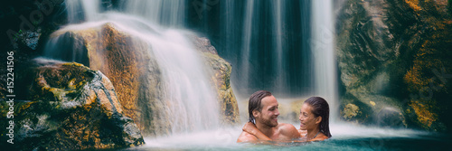 Waterfall couple relaxing in nature banner Poster