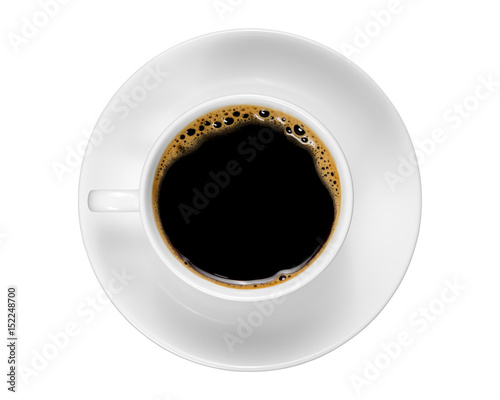 Top view of a white coffee cup isolated on white background.