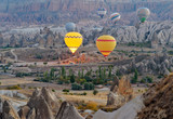 Morning start of Hot air balloons in Cappadocia. Turkey