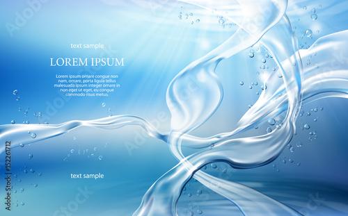 Tło wektor ilustracja z przepływów i krople krystalicznie czystej wody z jasnoniebieskim kolorze
