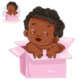 Vector illustration of little baby with black skin sitting in box. The appearance of the long-awaited child