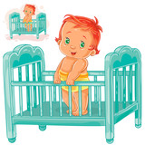 Vector illustration baby is in his cot. Print, template, design element