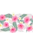 Border seamless pattern of tropical flowers  - 152266303