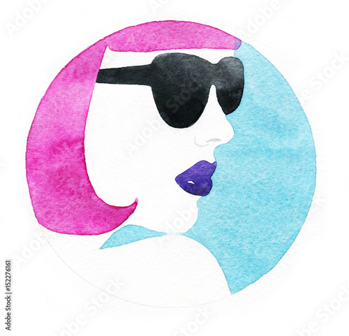 Woman with glasses.Fashion illustration. Watercolor painting