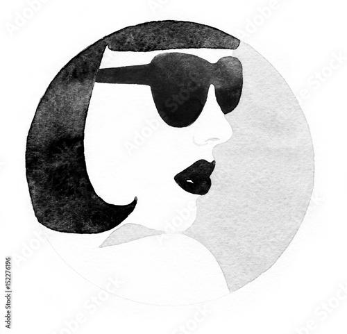 kobieta-z-glasses-fashion-ilustracji-malarstwo-akwarelowe