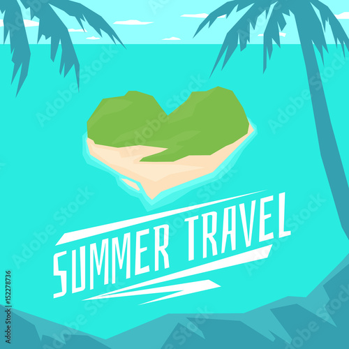 Modern poster summer travel to the island in the shape of a heart