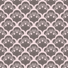 Vintage ornament in the style of Damask. Seamless dark background for textile, wallpaper, pattern fills, covers, surface, print, gift wrap, packaging paper, tile