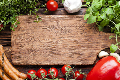 Meat and vegetables - food ingredients on wooden background - 152285925