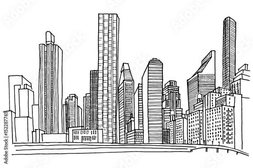 New York Skyline. Black and white vector sketch.