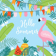 Hello Summer greeting card, invitation, invitations with hand drawn palm leaves, flowers, flamingo bird and party flags. Tropical jungle design. Vector illustration background.