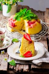 microwave strawberry cake.selective focus