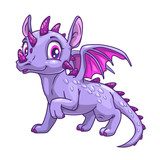 Funny cartoon little dragon icon.