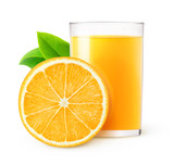 Isolated drink. Glass of orange juice and one slice of fruit isolated on white background with clipping path