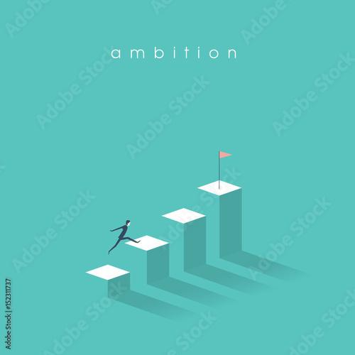 Fototapeta Ambition vector concept with businessman jump on graph columns. Success, achievment, motivation business symbol.