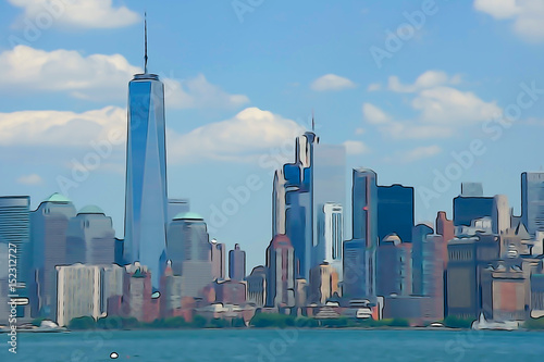 Manhattan Skyline Watercolor Painting Poster