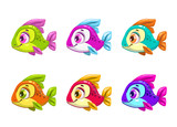 Colorful cartoon fishes set.